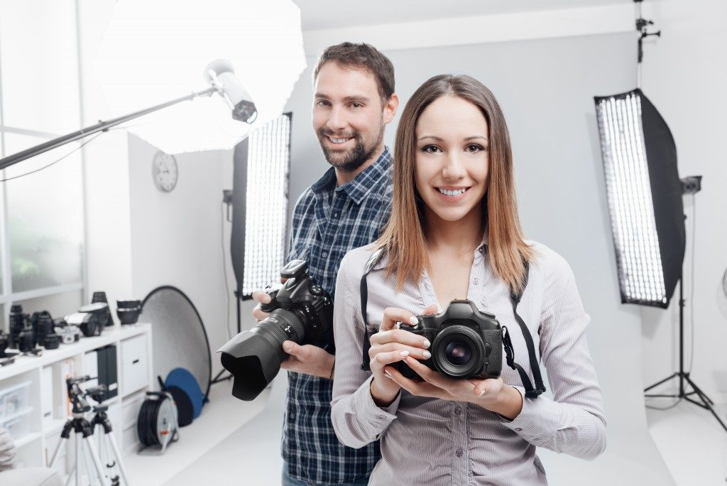 Professional photographers in a studio