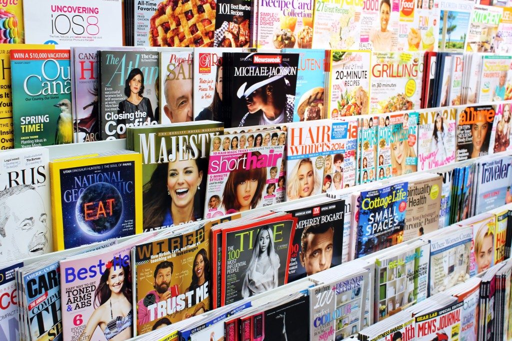 magazine on display in a store