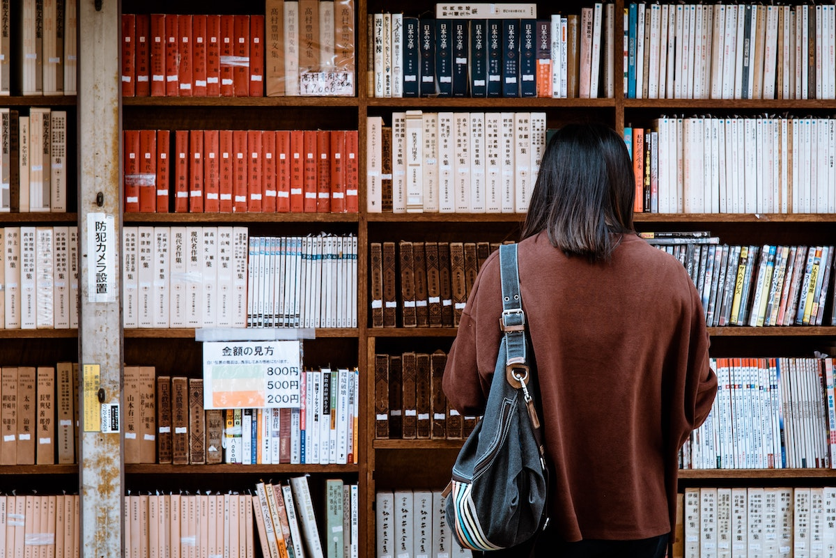 woman at a bookstore